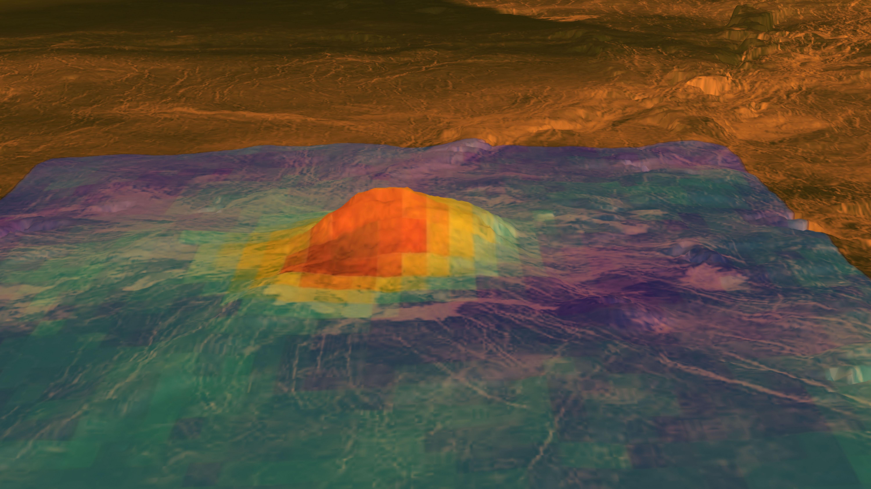 Iduun-Mons auf Venus - ein heute noch aktiver Vulkan? Diese thermografische Aufnahme könnte darauf hinweisen (Bild: NASA/ESA).